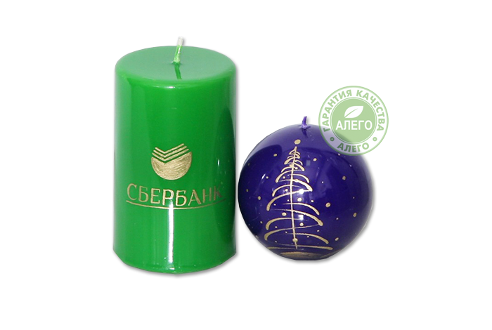 sberbank-candle Геометрические свечи с нанесеним логотипа